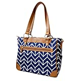 Kailo Chic Camera and Laptop Tote in Navy and Camel Arrows