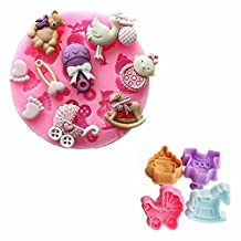 GOOTRADES Baby Shower Fondant Silicone Sugar Craft Mold Plus Plunger Cutter Tool