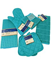 Kitchen Towel Set with 2 Quilted Pot Holders, Oven Mitt, Dish Towel, Dish Drying Mat, 2 Microfiber Scrubbing Dishcloths