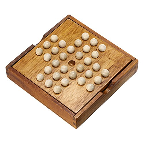 Sumnacon Wooden Peg Solitaire Board Game, Mini High Q Brain Teaser Board Games, Traditional Challenging Board Game For Kids Adults
