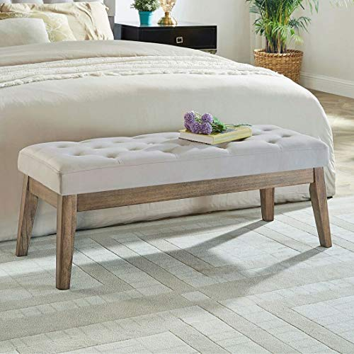 WEMART Velvet Upholstered Tufted Bench with Solid Wood Leg,Ottoman with Padded Seat-Taupe