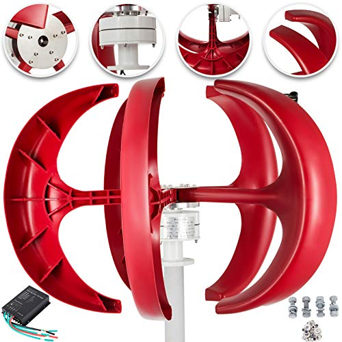 Happybuy Wind Turbine 400W 12V Wind Turbine Generator Red Lantern Vertical Wind Generator 5 Leaves Wind Turbine Kit with Controller No Pole
