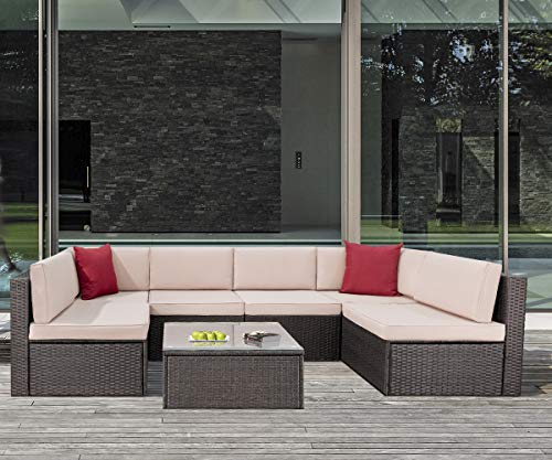 KaiMeng 7 Piece-1 Lawn Garden Outdoor Patio Furniture Sets, Black Brown Wicker Ratten Sectional Sofa Sectional Conversation Sets with Seat Cushions