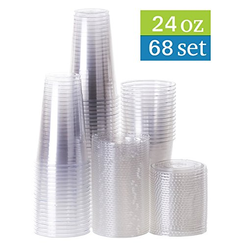 TashiBox 24 oz disposable clear PET plastic cups with flat lids, sets of 68 (68)