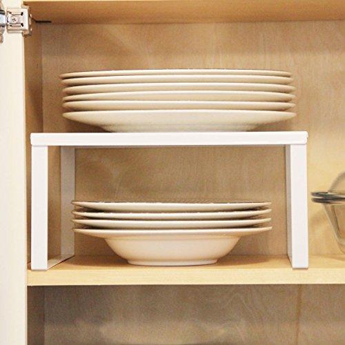 1 White Metal Kitchen Cabinet and Counter Top Organizer Shelf , 13 inch wide 11 inch deep (Kitchen Cabinet Organizer Plates compare prices)