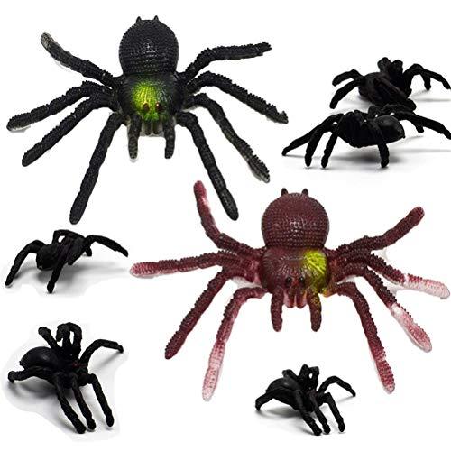 Mcree 7 Pcs Plastic Simulation Spiders Joke Prank Toy]()