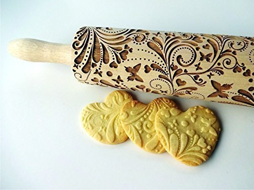 SPRING embossing rolling pin. Wooden embossing rolling pin with flowers and butterflies. Embossed cookies. Gift for Mother. Gift for Grandmother by Sun Crafts