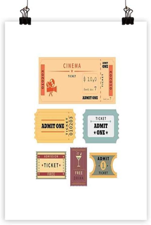 Illustration Vintage Retro Cinema Movie Theatre Ticket 12X16 Inch Framed Print