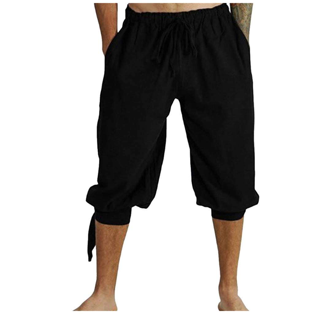 Mens Elastic Waist Drawstring Summer Workout Shorts with Pockets Black
