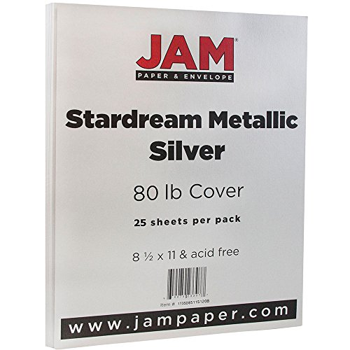 JAM Paper Metallic Paper - 8.5'' x 11'' - 80 lb Silver Stardream Metallic - 25 Sheets/pack by JAM Paper