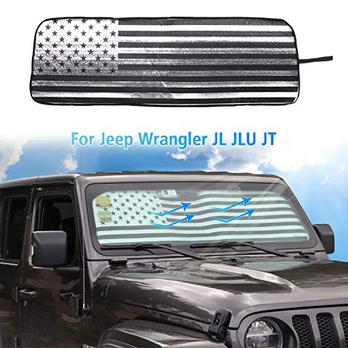 American Flag Windshield Sunshade, Auto Front Window Shade Foldable Sun Visor for 2018-2019 Jeep Wrangler JL JLU, for 2020 Jeep Gladiator JT Truck