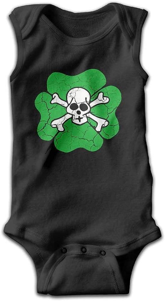 Shamrock Skull Ireland Luck Bad Good Cloverleaf Shoulder Bodysuits as picture12 Months