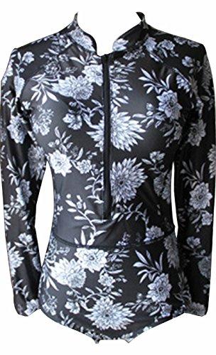 I VVEEL Mujer Una sola pieza de manga larga/corta/manga corta sin mangas de protección UV frente/bikini bikini traje de baño Negro01