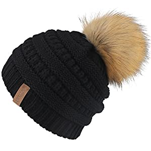 FURTALK Kids Slouchy Winter Knit Beanie Hats Faux Fur Pom Pom Hat Bobble Hat Ski Cap