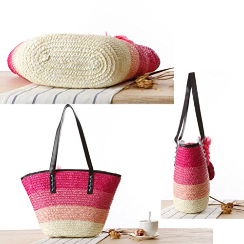 Zhhlaixing Casual Korean Style Color Striped Straw Buns Package Flowers Single Shoulder Woven Package Hit Beach Bags Bolsa hermosa especial for Womens Green