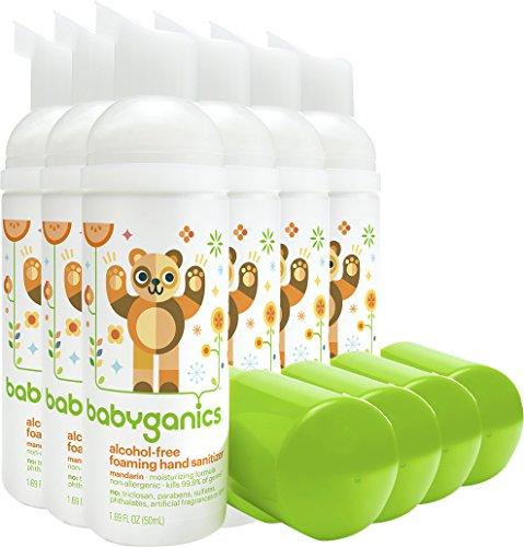Babyganics Alcohol-Free Foaming Hand Sanitizer, Mandarin, On-The-Go, 50 ml (1.69-Ounce), Pump Bottle (Pack of 6)