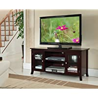 Kings Brand Furniture TV Stand with Glass Doors, Dark Cherry, 48