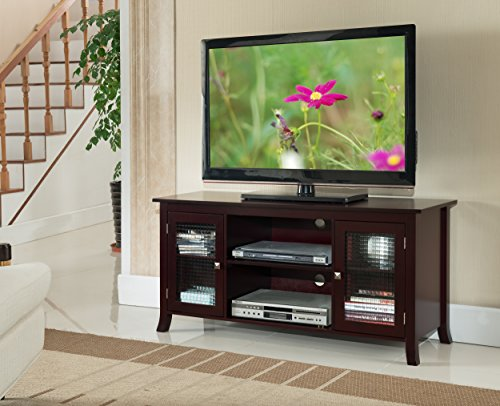 Kings Brand Furniture TV Stand with Glass Doors, Dark Cherry, 48""