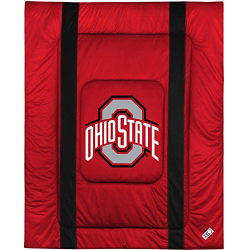 Ohio State University Sham (1 Piece NCAA Buckeyes Theme Plush Comforter Twin, Red Grey Multi Collegiate Football Themed Bedding, Sports Pattern, Team Logo Fan Merchandise Athletic Team Spirit Fan, Soft & Comfy Polyester Jersey)