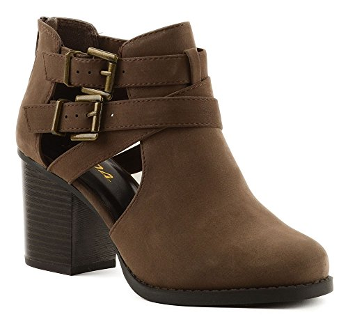 4b7b2aa2a SODA Women's Scribe Cut Out Sides Block Heel Ankle Bootie Brown