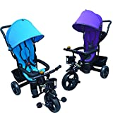 Xeo Smart Ride - Kids Trike 3 Wheeler Children Tricycle Ride-On Bike with Parent Handlebar Canopy Colour Choice (Purple)