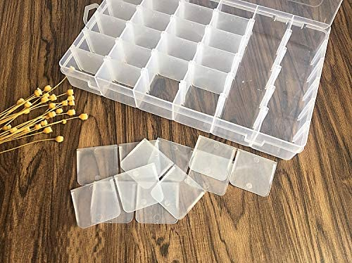 Jewelry Organizer Box Fishing Tackle Clear Organizer Box with165pcs embroidery tools for Bead Storage Plastic Organizer Box with Dividers 36 Compartment Organizer Letter Board Letters