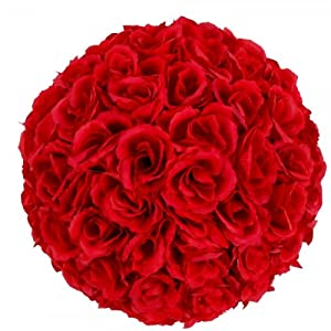 Generic New 9.84 inch Wedding Decor Romantic Super Flower Kissing Ball Burgundy 107