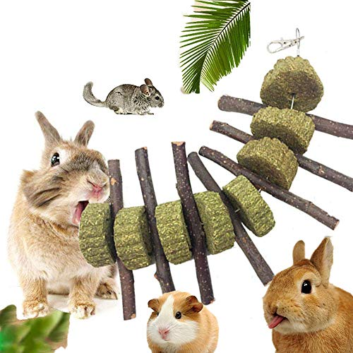 - KOBWA Bunny Chew Toys for Teeth, Organic Apple Sticks Pet Chew Toys Grass Cake Rabbits, Chinchilla, Guinea Pigs, Hamsters, Parrots Teeth Grinding Toy