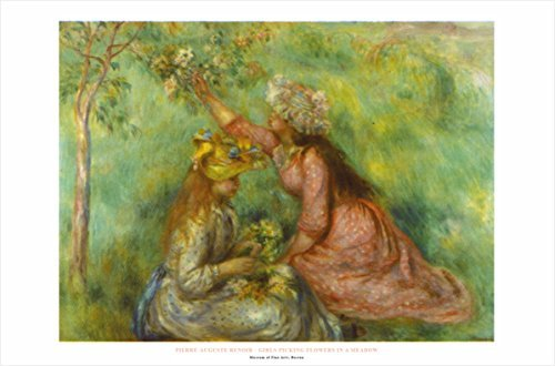 Buyartforless Girls Picking Flowers In A Meadow by Pierre-Au