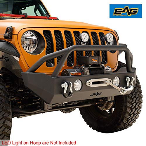 (EAG Front Bumper with Winch Plate and Fog Light Housing Fit for 18-19 Jeep JL)