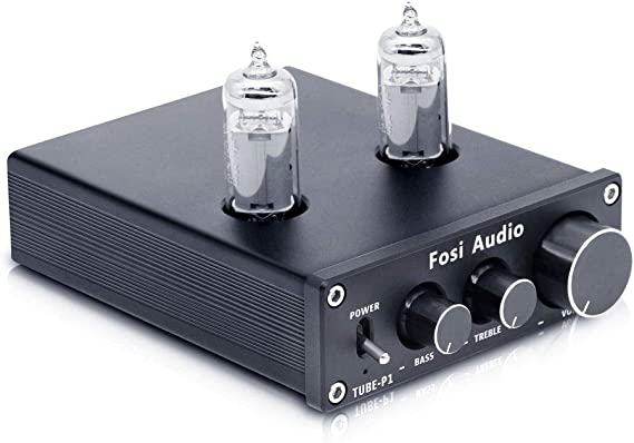 Fosi Audio P1 Tube Pre-Amplifier Mini Hi-Fi Stereo Buffer Preamp 6K4 Valve & Vacuum Pre-amp with Treble & Bass Tone Control for Home Theater System