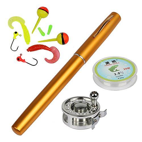 Pocket Pen Fishing Rod Pole Reel Nylon Line Set - 2