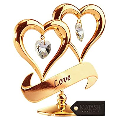 24K Gold Plated Crystal Studded Double Heart with Banner Ornament by Matashi