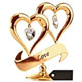 "#8: Mothers Day Gift – 24K Gold Dipped ""The Love of a Mom"" Ornament, Two Delicate Hearts with Dangling Crystals, Hang Above a ""LOVE"" Inscribed Banner, Great Gift Idea for Mother's by Matashi"