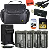 High Power Accessory Kit for Nikon 1 V1, D600, D610, D750, D800, D810, D7000, D7100 Digital SLR Camera - Includes 4 ENEL15 Batteries + 64GB SD Memory card + Deluxe Carrying Case + Mini HDMI + More!!