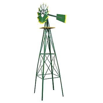 HomGarden 8u0027 Ornamental Garden Windmill Vane Weather Resistant Metal (Green)