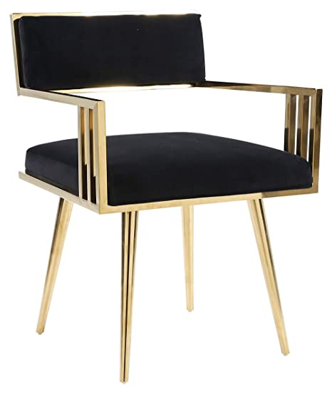 Strange Homefun Velvet Accent Chair With Arms Dining Chair For Living Room Bedroom Golden Stainless Steel Metal Frame Black Creativecarmelina Interior Chair Design Creativecarmelinacom