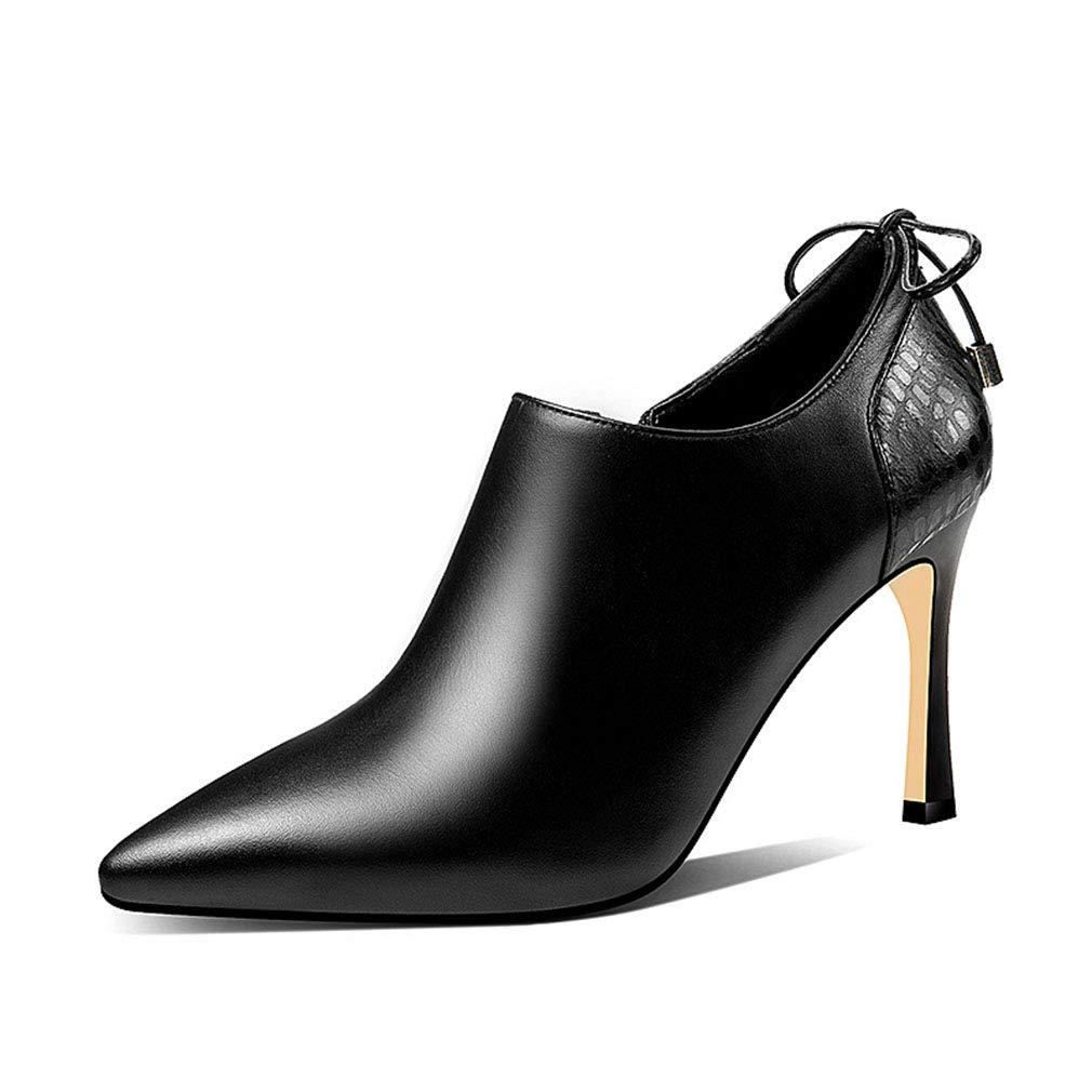 Gfphfm damen es schuhe 2019 New Leather Ladies Schuhe Butterfly Knot Zipper Deep Mouth Single schuhe Pointed Fine Heel High Heels,A,34