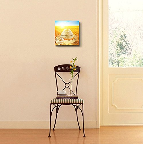 Wheat Field and The Hat of a Farmer Autumn Harvest Concept Wall Decor