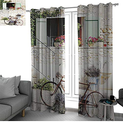 (bybyhome Bicycle Kitchen/Bedroom Window Treatments Home Decoration European French Mediterranean Rural Stone House with Bike Countryside Provence Day Photo Wall Curtain Multi W96 x L84 Inch )