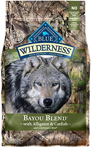 Blue Buffalo Wilderness Bayou Blend High Protein Grain Free, Natural Dry Dog Food With Alligator & Catfish 4-Lb