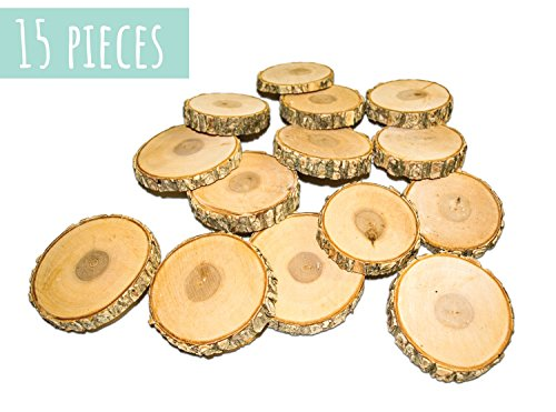 "Wood Slices for Crafts, 15 round wooden discs, 3""-3.5"" wide, Precision Cut, Natural and Unfinished, Sourced from Michigan USA Log Trees, Great for Wedding Decorations & Wood Burning Projects Sliced Log"