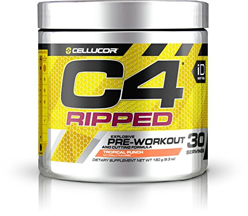 Cellucor C4 Ripped Pre Workout Powder Energy Drink + Fat Burner, Fat Burners for Men & Women, Weight Loss, tropical Punch, 30 Servings