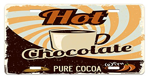 Ambesonne Retro License Plate, Old Hot Chocolate Commercial in Funky Shaded Color with Cocoa Beans and Mug Print, High Gloss Aluminum Novelty Plate, 5.88 L X 11.88 W Inches, Multicolor