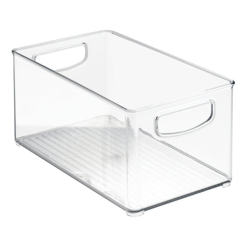 gro/ßer K/üchen Organizer aus Kunststoff iDesign Aufbewahrungsbox f/ür die K/üche durchsichtig offene K/ühlschrankbox mit Griffen