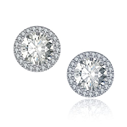 Wholesale Cubic Zirconia Costume Jewelry (Studs Earrings,18k White Gold Plated Cubic Zirconia Cushion Shape Halo Stud Earrings CZ Earrings for Women for Teen Girls)
