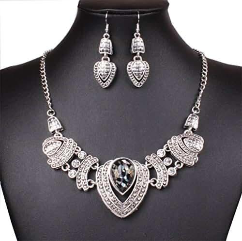 New Chunky Tibet Silver Tribal Heart Love Pendant Bib Choker Chunky Collar Necklace Earrings Set