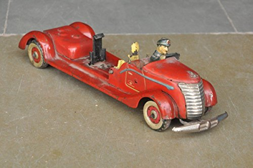 Vintage Wind Up MT Trademark Unique Fire Brigade Truck / Car Tin Toy , Japan