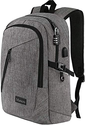 Mancro Laptop Backpack, Business Water Resistant Laptop bag Backpack Gift for Men Women with USB Charging Port, Anti…