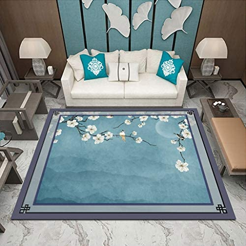 XIAOYUDT Chinese Rug, Thickness 7mm No Fading No Odor Fluff is Not Easy to Fall Non Slip Easy to Clean Suitable for Bedroom Living Room Kitchen Color Cyan, Size 1.62.3m